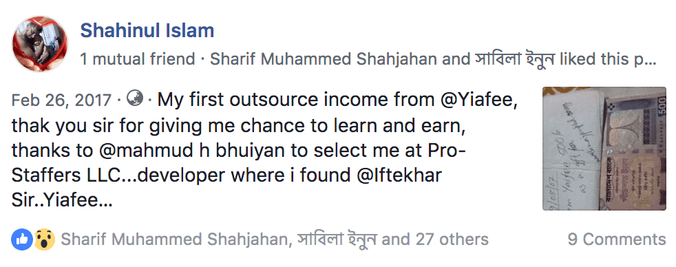 freelancing bangaldesh income